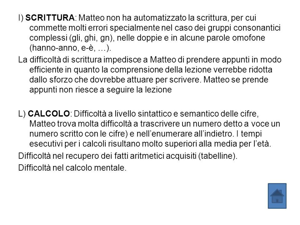 I) SCRITTURA: Matteo non ha automatizzato la scrittura, per cui commette molti errori specialmente nel caso dei gruppi consonantici complessi (gli, gh