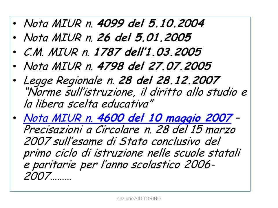 sezione AID TORINO Nota MIUR n. 4099 del 5.10.2004 Nota MIUR n. 26 del 5.01.2005 C.M. MIUR n. 1787 dell'1.03.2005 Nota MIUR n. 4798 del 27.07.2005 Leg