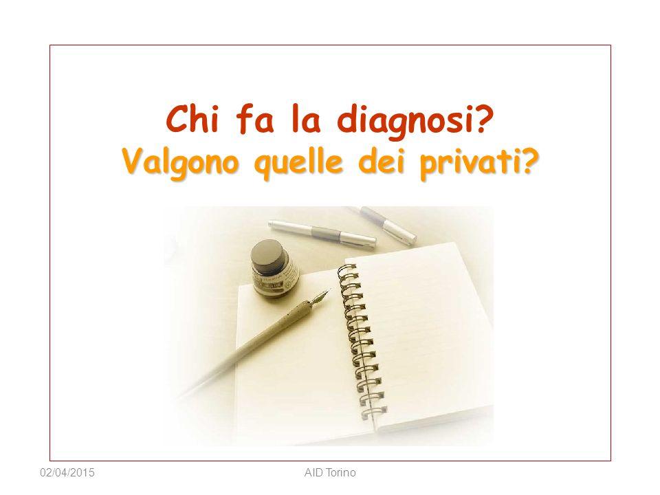 Valgono quelle dei privati? Chi fa la diagnosi? Valgono quelle dei privati? 02/04/2015AID Torino