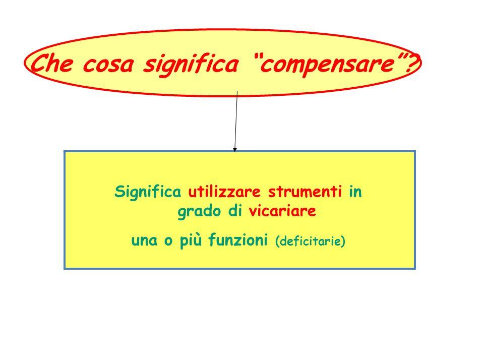 """Che cosa significa """"compensare""""? Significa utilizzare strumenti in grado di vicariare una o più funzioni (deficitarie)"""