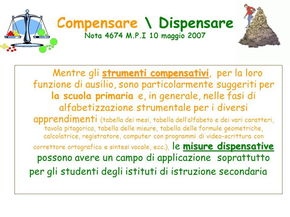 Compensare \ Dispensare Nota 4674 M.P.I 10 maggio 2007 strumenti compensativi misure dispensative Mentre gli strumenti compensativi, per la loro funzi