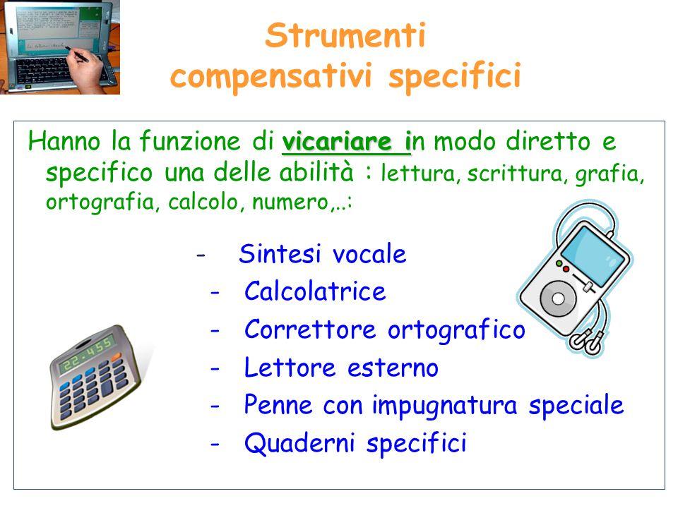 Strumenti compensativi specifici vicariare i Hanno la funzione di vicariare in modo diretto e specifico una delle abilità : lettura, scrittura, grafia