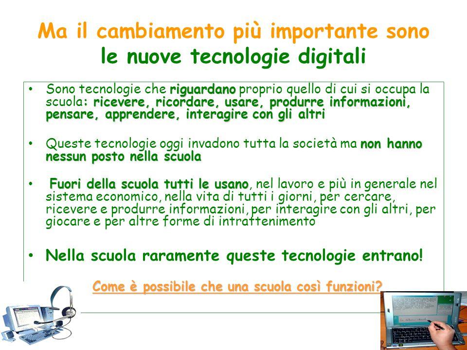 Ma il cambiamento più importante sono le nuove tecnologie digitali riguardano : ricevere, ricordare, usare, produrre informazioni, pensare, apprendere