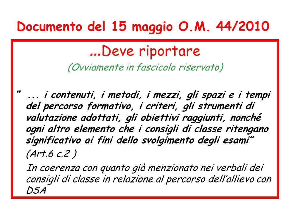"""Documento del 15 maggio O.M. 44/2010... Deve riportare (Ovviamente in fascicolo riservato) """"... i contenuti, i metodi, i mezzi, gli spazi e i tempi de"""