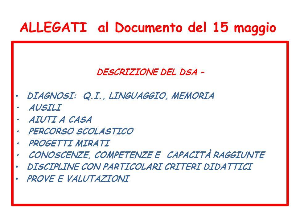 ALLEGATI al Documento del 15 maggio DESCRIZIONE DEL DSA – DIAGNOSI: Q.I., LINGUAGGIO, MEMORIA AUSILI AIUTI A CASA PERCORSO SCOLASTICO PROGETTI MIRATI