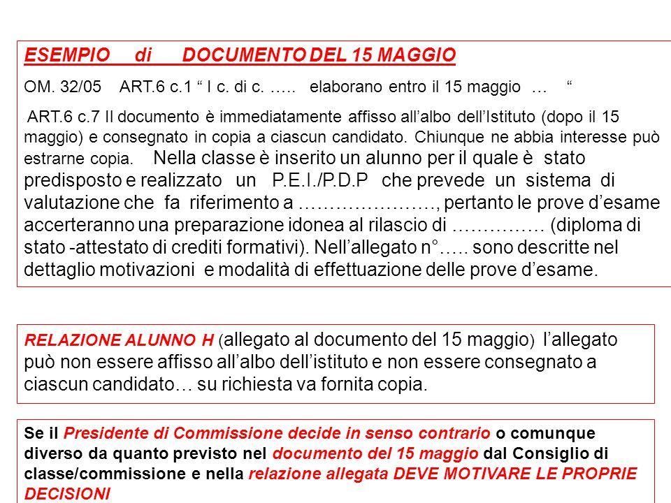 """ESEMPIO di DOCUMENTO DEL 15 MAGGIO OM. 32/05 ART.6 c.1 """" I c. di c. ….. elaborano entro il 15 maggio … """" ART.6 c.7 Il documento è immediatamente affis"""