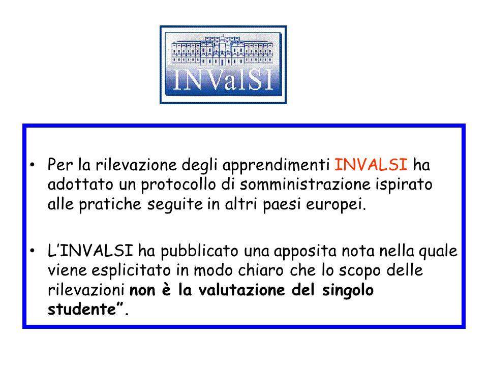 Per la rilevazione degli apprendimenti INVALSI ha adottato un protocollo di somministrazione ispirato alle pratiche seguite in altri paesi europei. L'