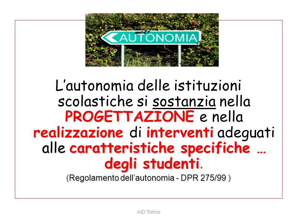 alle caratteristiche specifiche … degli studenti L'autonomia delle istituzioni scolastiche si sostanzia nella PROGETTAZIONE e nella realizzazione di i