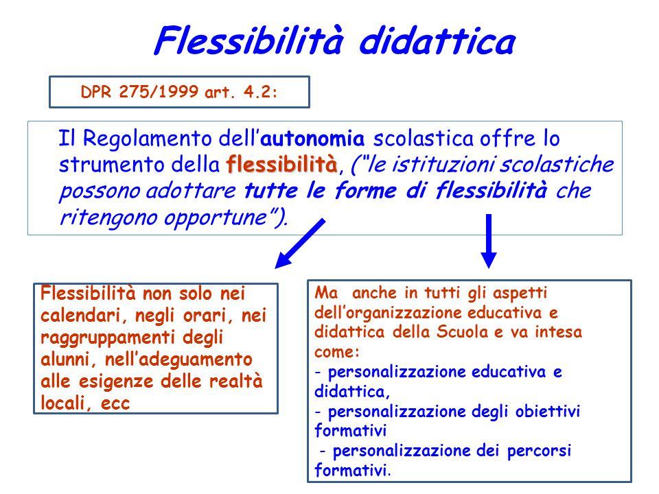 """Flessibilità didattica flessibilità Il Regolamento dell'autonomia scolastica offre lo strumento della flessibilità, (""""le istituzioni scolastiche posso"""