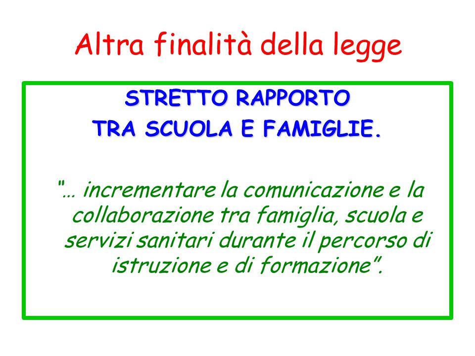 """Altra finalità della legge STRETTO RAPPORTO TRA SCUOLA E FAMIGLIE. """"… incrementare la comunicazione e la collaborazione tra famiglia, scuola e servizi"""