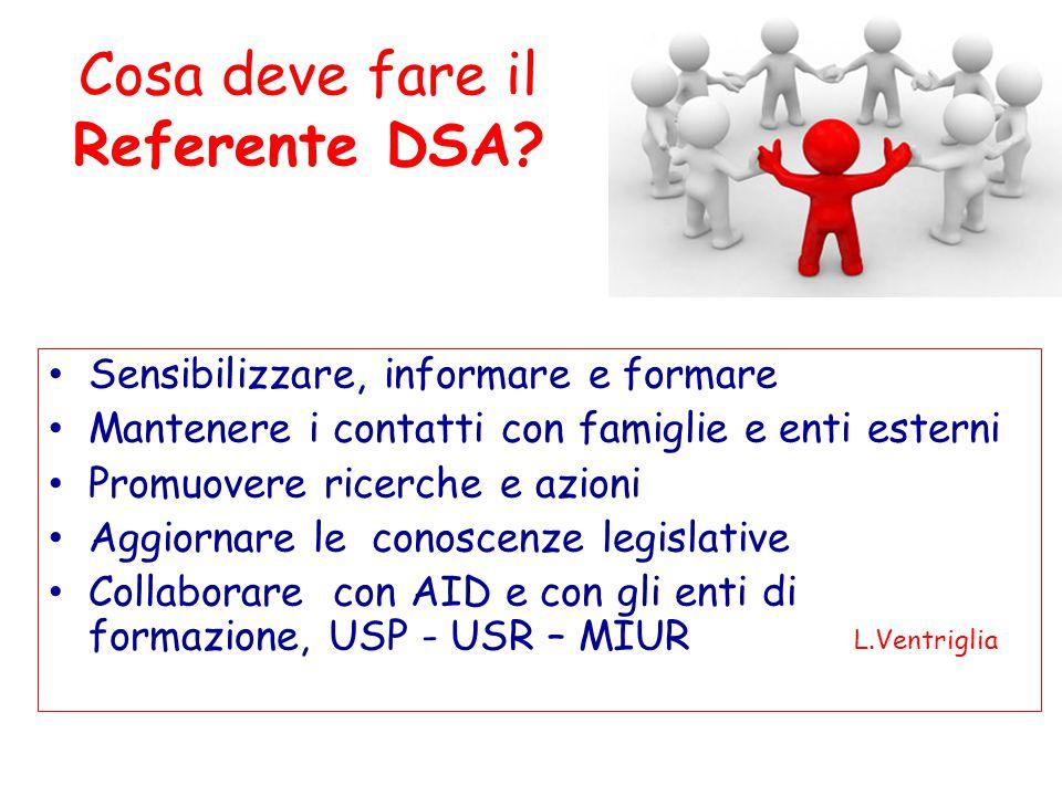 Cosa deve fare il Referente DSA? Sensibilizzare, informare e formare Mantenere i contatti con famiglie e enti esterni Promuovere ricerche e azioni Agg