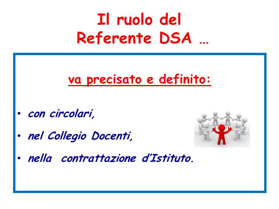 Il ruolo del Referente DSA … va precisato e definito: con circolari, nel Collegio Docenti, nella contrattazione d'Istituto.