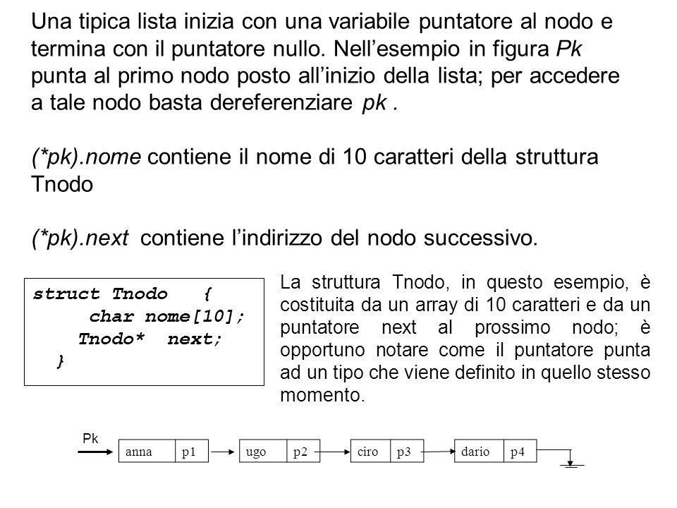 In luogo della scrittura precedente si utilizza la seguente in cui non appare il simbolo * di derenfereziazione: pk->nome pk->next Il simbolo -> viene detto operatore freccia: esso si applica al puntatore della struttura e non alla variabile che denota la struttura.