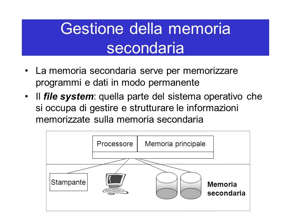 Gestione della memoria secondaria La memoria secondaria serve per memorizzare programmi e dati in modo permanente Il file system: quella parte del sistema operativo che si occupa di gestire e strutturare le informazioni memorizzate sulla memoria secondaria Processore Stampante Memoria secondaria Memoria principale