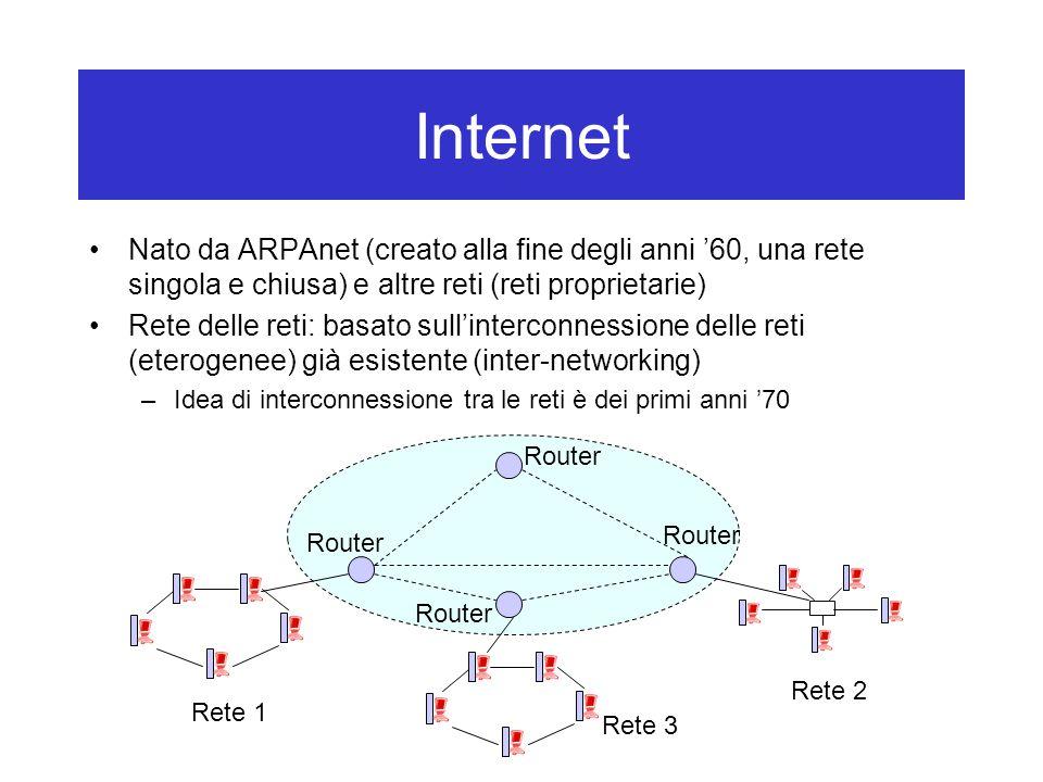 Internet Nato da ARPAnet (creato alla fine degli anni '60, una rete singola e chiusa) e altre reti (reti proprietarie) Rete delle reti: basato sull'interconnessione delle reti (eterogenee) già esistente (inter-networking) –Idea di interconnessione tra le reti è dei primi anni '70 Rete 1 Rete 2 Rete 3 Router