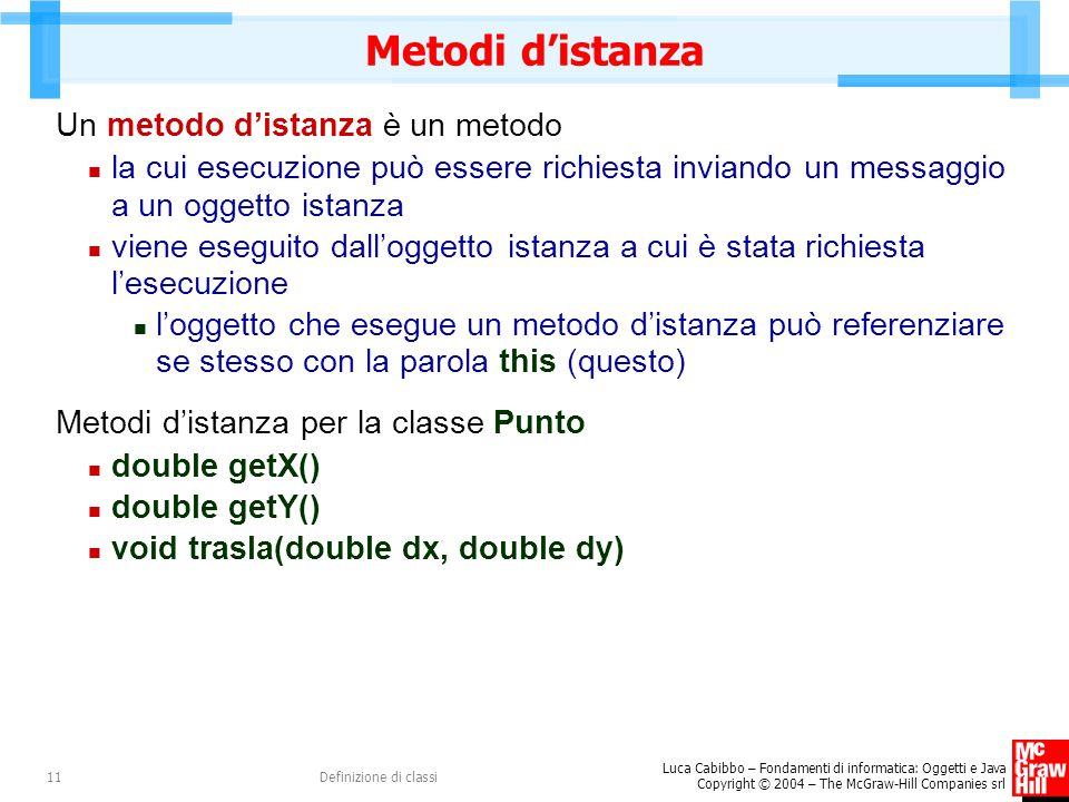 Luca Cabibbo – Fondamenti di informatica: Oggetti e Java Copyright © 2004 – The McGraw-Hill Companies srl Definizione di classi11 Metodi d'istanza Un