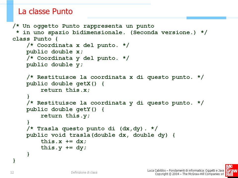 Luca Cabibbo – Fondamenti di informatica: Oggetti e Java Copyright © 2004 – The McGraw-Hill Companies srl Definizione di classi12 La classe Punto /* U