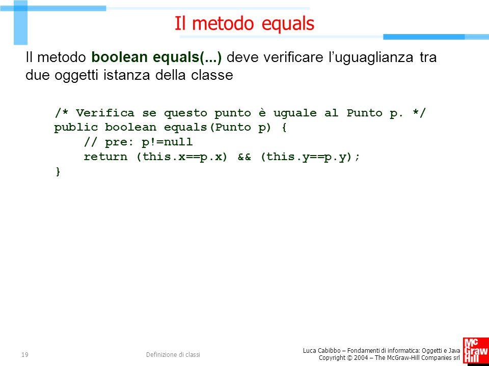Luca Cabibbo – Fondamenti di informatica: Oggetti e Java Copyright © 2004 – The McGraw-Hill Companies srl Definizione di classi19 Il metodo equals Il