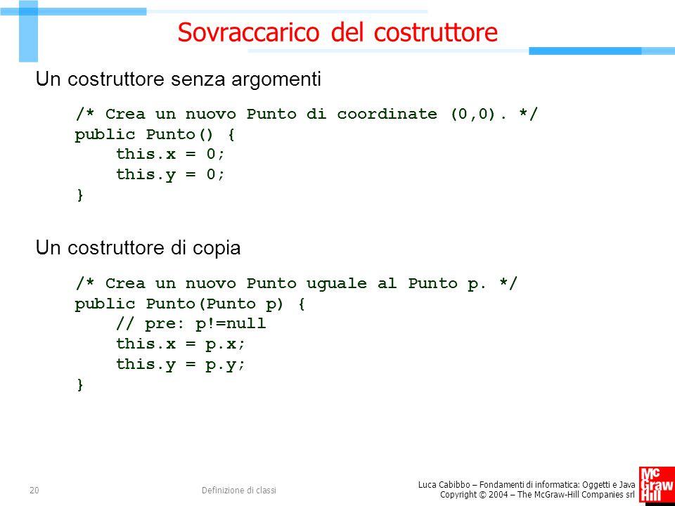 Luca Cabibbo – Fondamenti di informatica: Oggetti e Java Copyright © 2004 – The McGraw-Hill Companies srl Definizione di classi20 Sovraccarico del cos