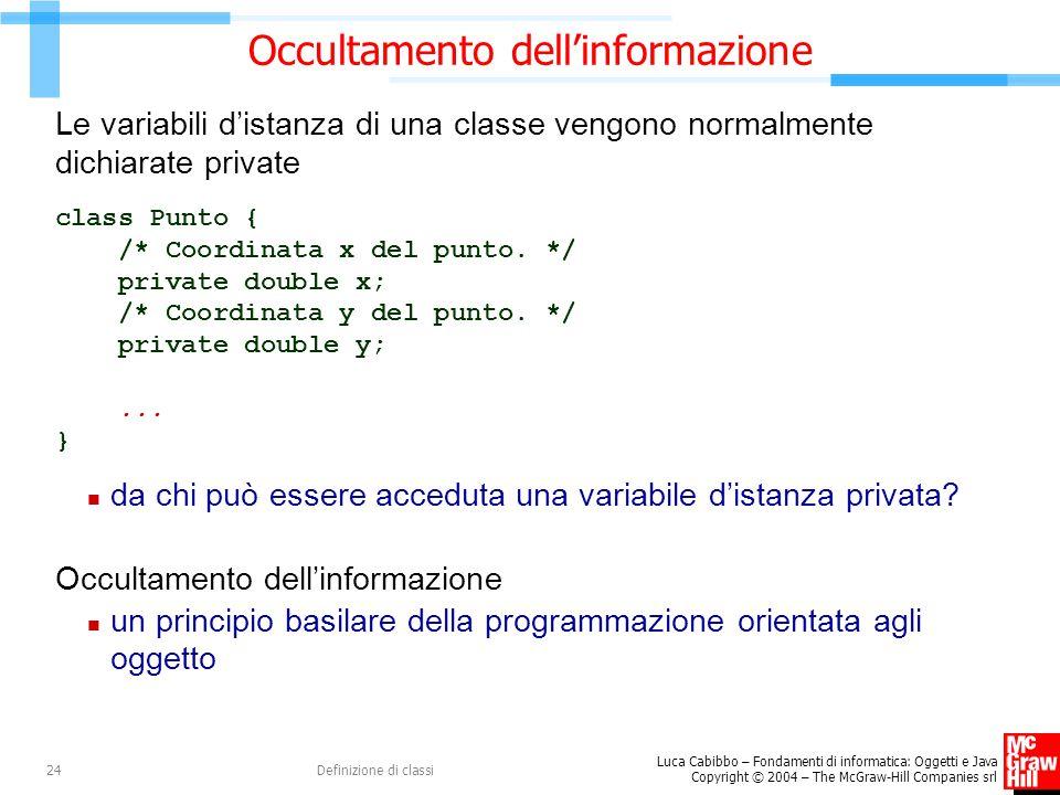 Luca Cabibbo – Fondamenti di informatica: Oggetti e Java Copyright © 2004 – The McGraw-Hill Companies srl Definizione di classi24 Occultamento dell'in