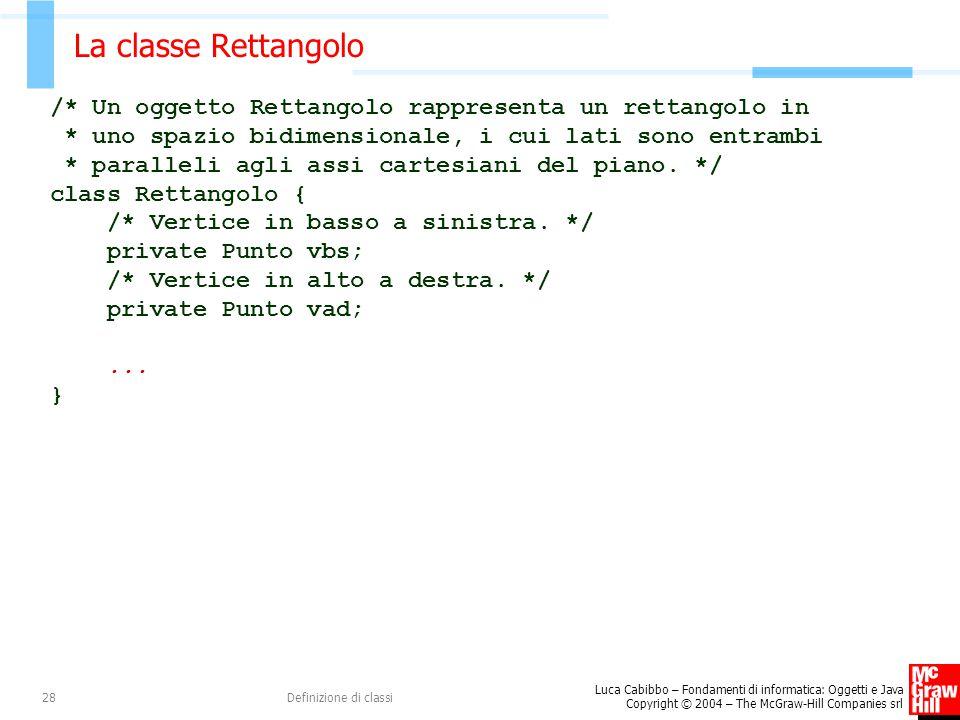 Luca Cabibbo – Fondamenti di informatica: Oggetti e Java Copyright © 2004 – The McGraw-Hill Companies srl Definizione di classi28 La classe Rettangolo
