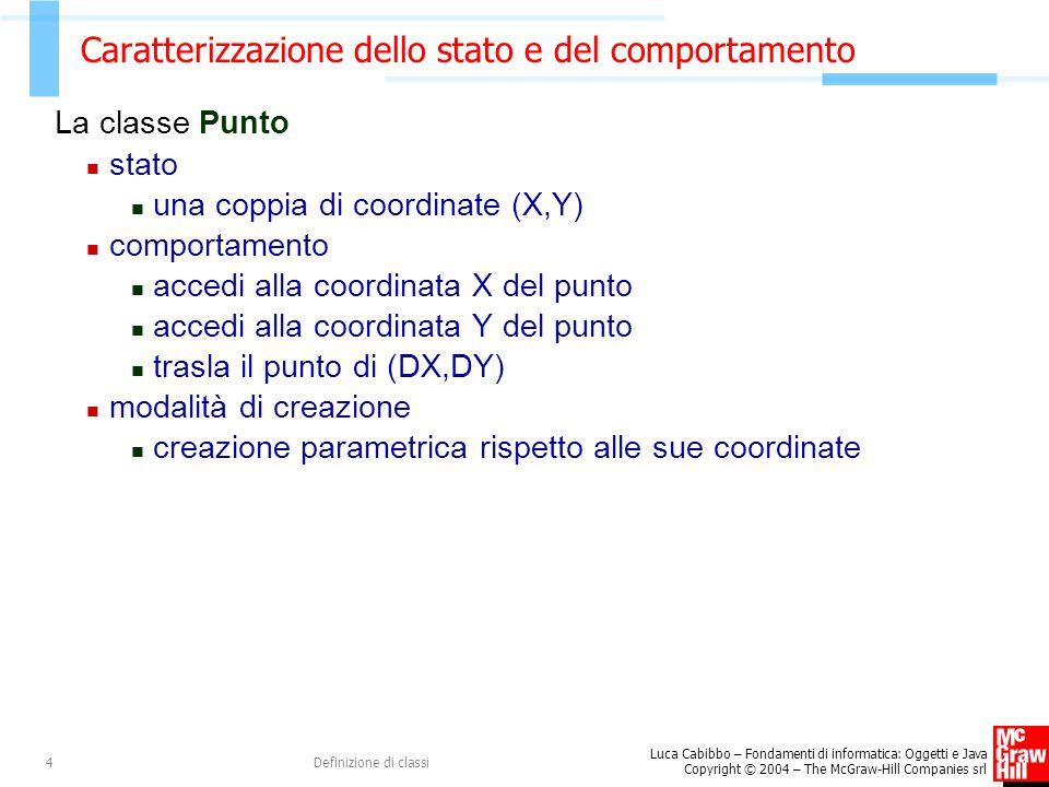 Luca Cabibbo – Fondamenti di informatica: Oggetti e Java Copyright © 2004 – The McGraw-Hill Companies srl Definizione di classi5 Uso della classe Punto Punto p, p1, p2; // tre punti nel piano p = new Punto(0,0); // p è l origine del piano p1 = new Punto(1,-1); // p1 è il punto di coordinate // (1,-1) p2 = new Punto(1,-1); // un altro punto di coordinate // (1,-1) System.out.println(p1.getX()); // visualizza 1.0 System.out.println(p1.getY()); // visualizza -1.0 p1.trasla(4,3); // ora p1 ha coordinate (5,2) System.out.println(p1.getX()); // visualizza 5.0 System.out.println(p1.getY()); // visualizza 2.0