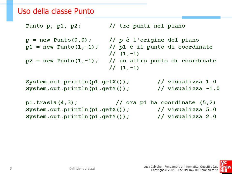 Luca Cabibbo – Fondamenti di informatica: Oggetti e Java Copyright © 2004 – The McGraw-Hill Companies srl Definizione di classi5 Uso della classe Punt