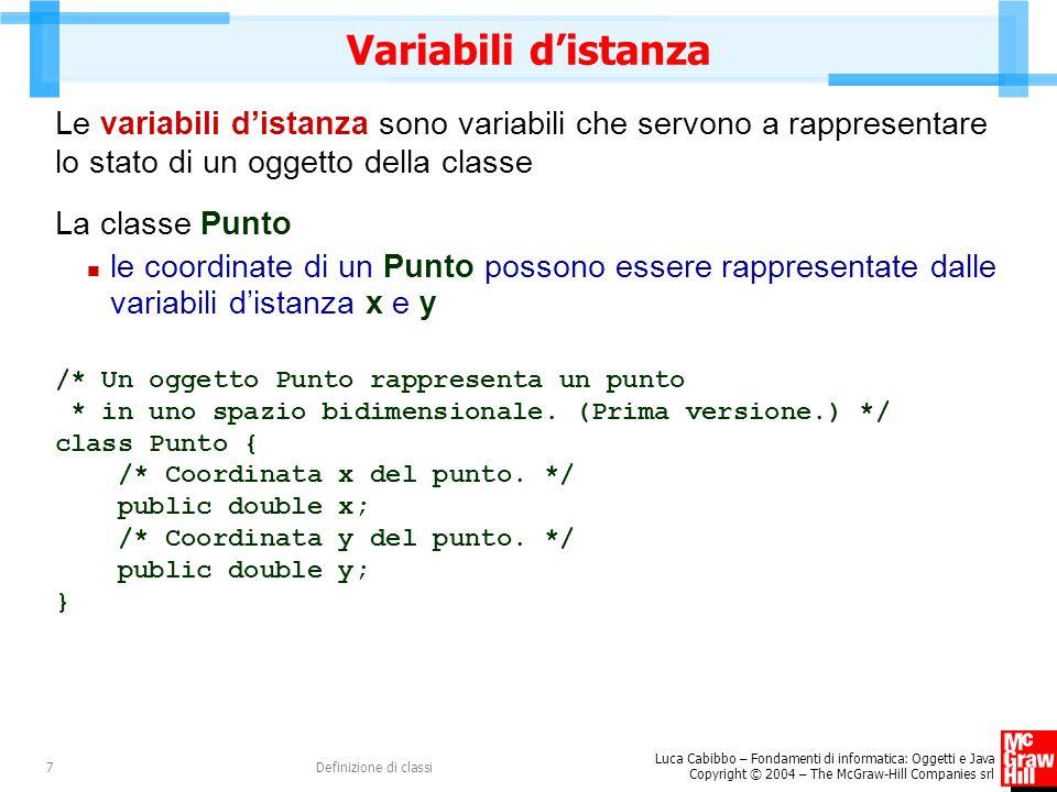 Luca Cabibbo – Fondamenti di informatica: Oggetti e Java Copyright © 2004 – The McGraw-Hill Companies srl Definizione di classi8 Variabili d'istanza x : double y : double Punto x = 1.0 y = -1.0 p1 : Punto x = 0.0 y = 0.0 p : Punto x = 1.0 y = -1.0 p2 : Punto