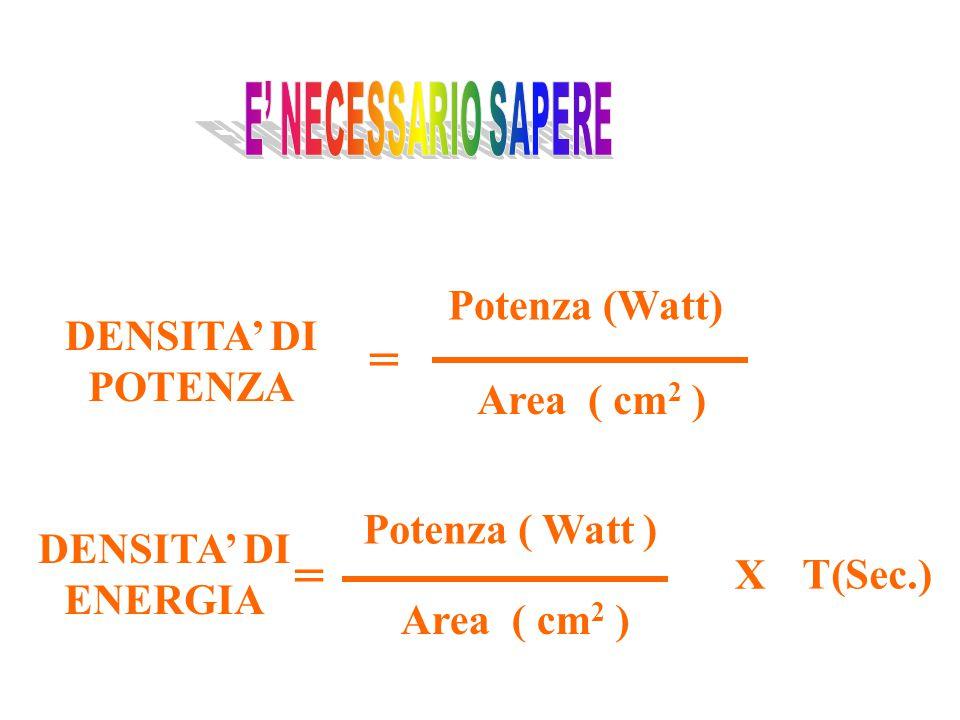 DENSITA' DI POTENZA Potenza (Watt) Area ( cm 2 ) = T(Sec.) DENSITA' DI ENERGIA = X Potenza ( Watt ) Area ( cm 2 )