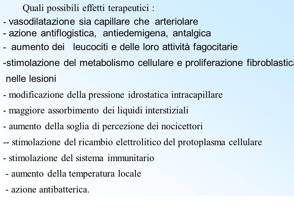 Quali possibili effetti terapeutici : - vasodilatazione sia capillare che arteriolare - azione antiflogistica, antiedemigena, antalgica - aumento dei