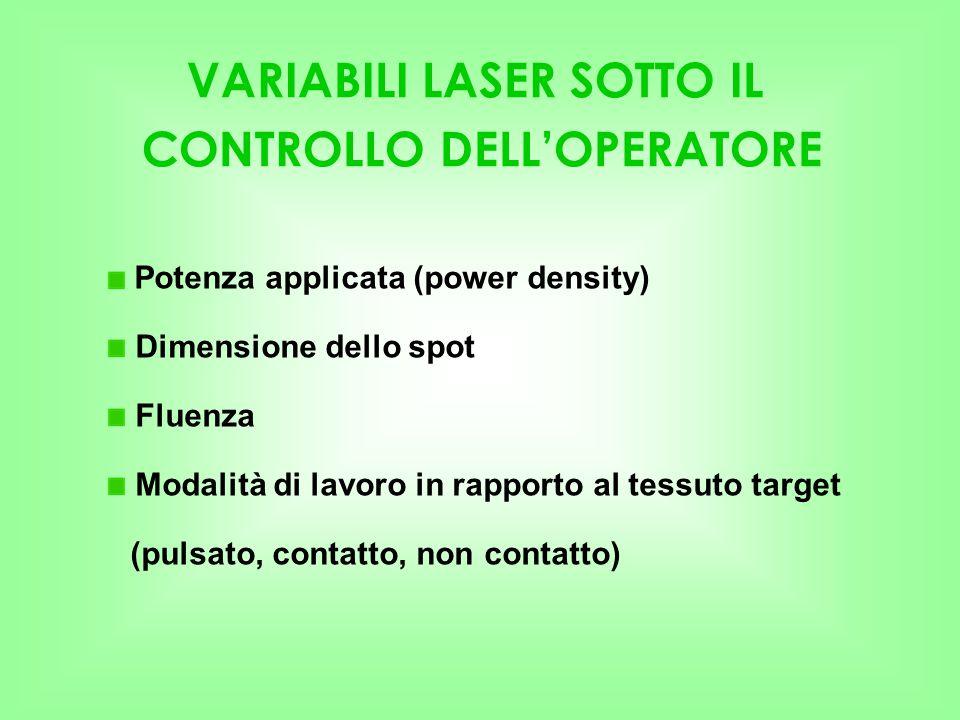 VARIABILI LASER SOTTO IL CONTROLLO DELL'OPERATORE Potenza applicata (power density) Dimensione dello spot Fluenza Modalità di lavoro in rapporto al te