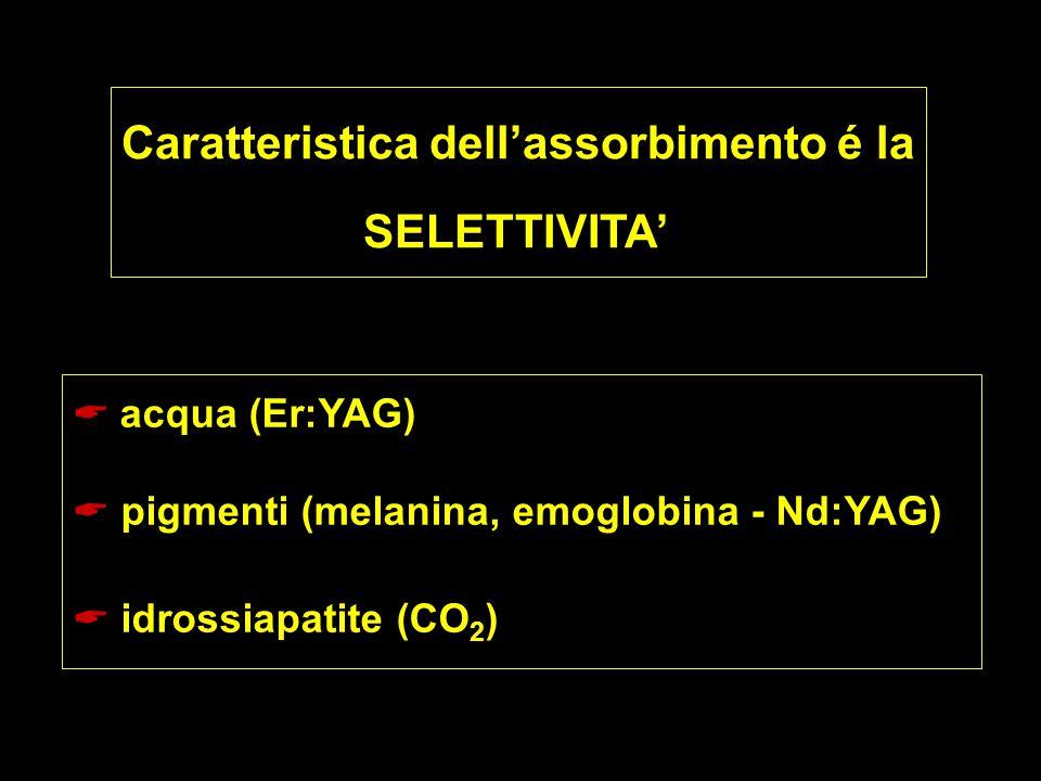 Caratteristica dell'assorbimento é la SELETTIVITA'  acqua (Er:YAG)  pigmenti (melanina, emoglobina - Nd:YAG)  idrossiapatite (CO 2 )