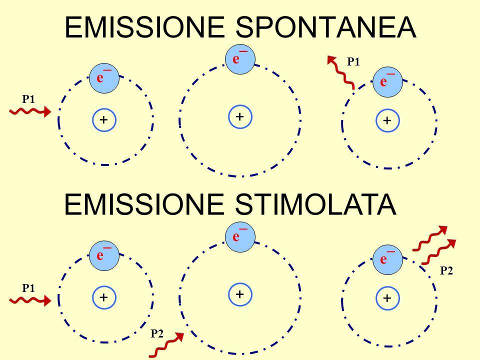EMISSIONE SPONTANEA e¯ + P1 + + P1 + P1 + + P2 P2 EMISSIONE STIMOLATA