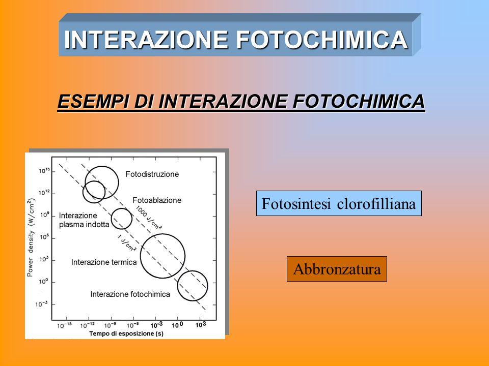 INTERAZIONE FOTOCHIMICA Fotosintesi clorofilliana Abbronzatura ESEMPI DI INTERAZIONE FOTOCHIMICA