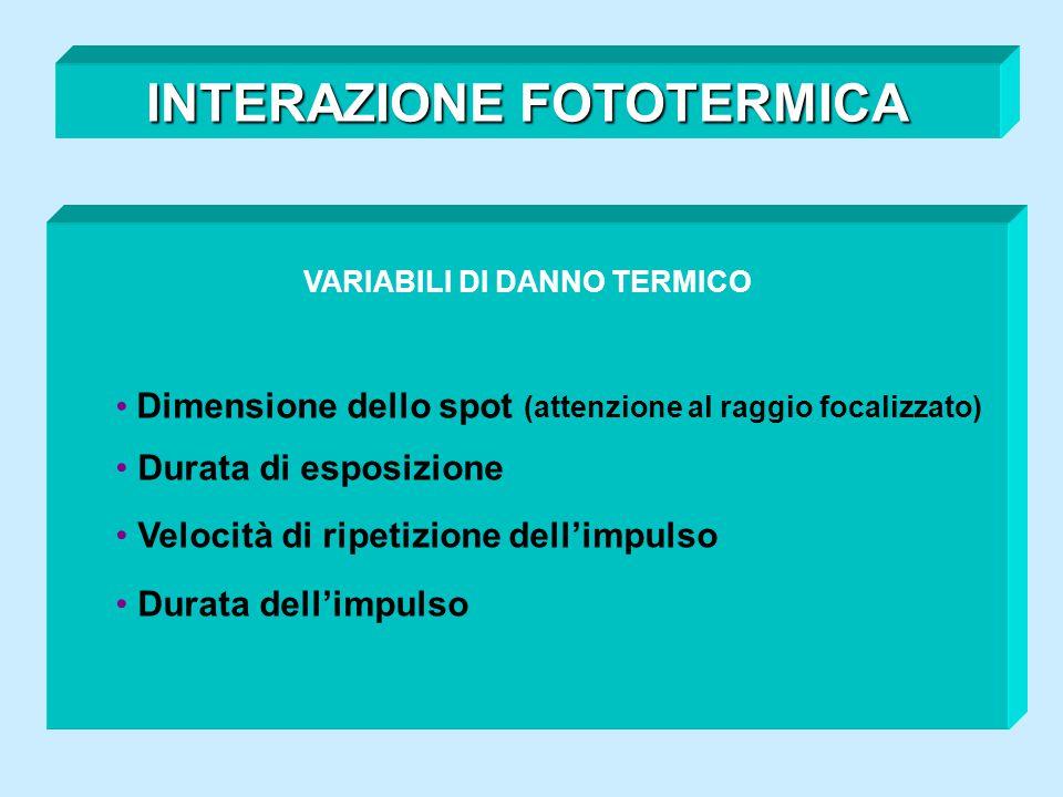 INTERAZIONE FOTOTERMICA VARIABILI DI DANNO TERMICO Dimensione dello spot (attenzione al raggio focalizzato) Durata di esposizione Velocità di ripetizi