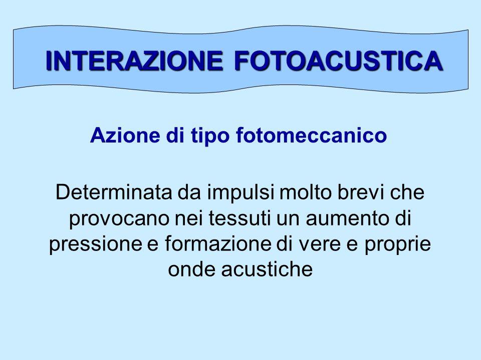 INTERAZIONE FOTOACUSTICA Azione di tipo fotomeccanico Determinata da impulsi molto brevi che provocano nei tessuti un aumento di pressione e formazion