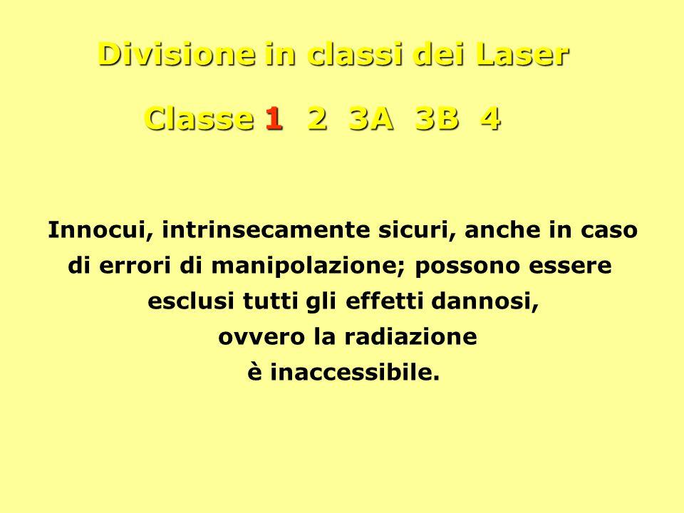 Divisione in classi dei Laser Classe 1 2 3A 3B 4 Innocui, intrinsecamente sicuri, anche in caso di errori di manipolazione; possono essere esclusi tut