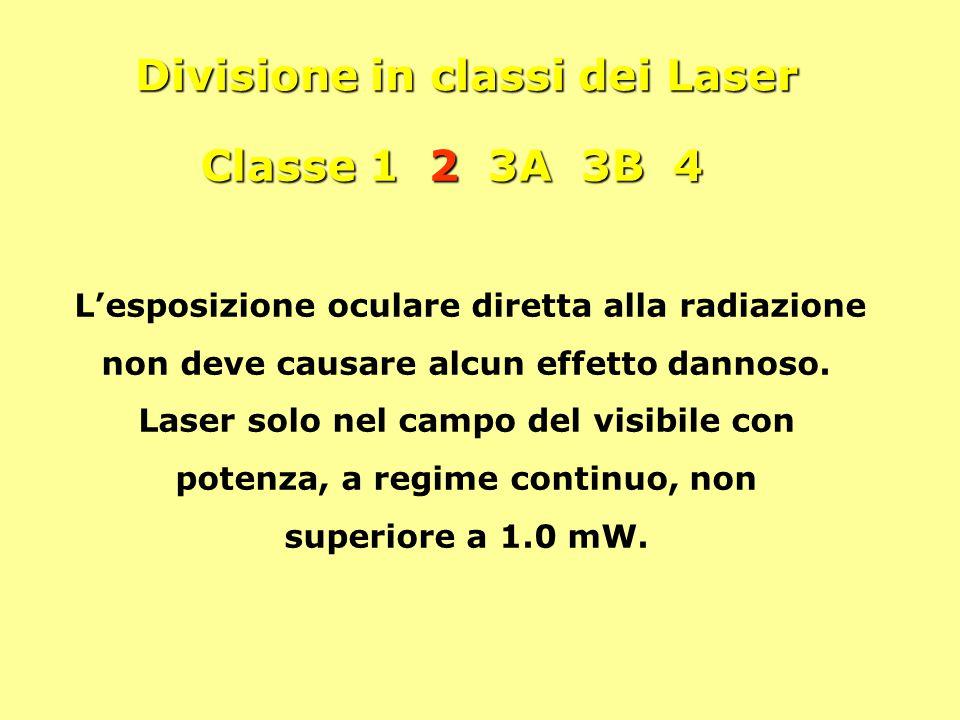 Divisione in classi dei Laser Classe 1 2 3A 3B 4 L'esposizione oculare diretta alla radiazione non deve causare alcun effetto dannoso. Laser solo nel