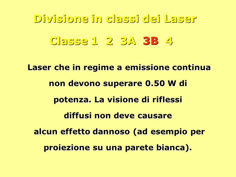 Divisione in classi dei Laser Classe 1 2 3A 3B 4 Laser che in regime a emissione continua non devono superare 0.50 W di potenza. La visione di rifless
