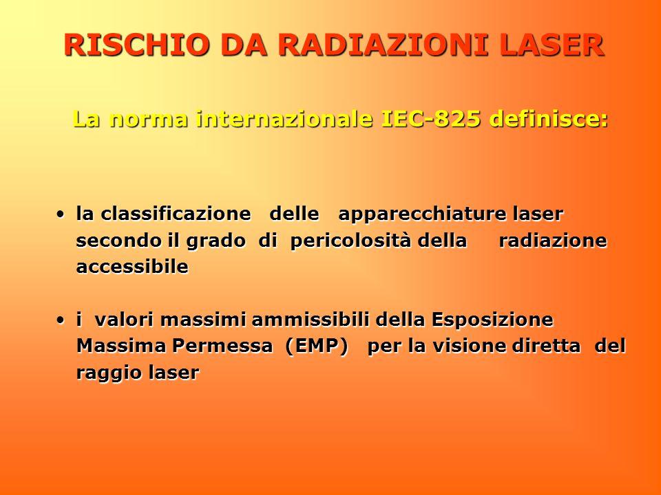 RISCHIO DA RADIAZIONI LASER la classificazione delle apparecchiature laser secondo il grado di pericolosità della radiazione accessibilela classificaz