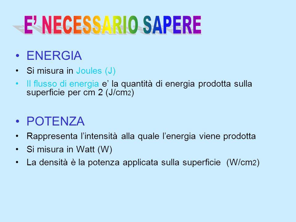 ENERGIA Si misura in Joules (J) Il flusso di energia e' la quantità di energia prodotta sulla superficie per cm 2 (J/cm 2 ) POTENZA Rappresenta l'inte