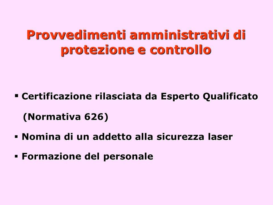 Provvedimenti amministrativi di protezione e controllo  Certificazione rilasciata da Esperto Qualificato (Normativa 626)  Nomina di un addetto alla