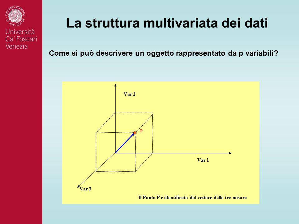 La struttura multivariata dei dati Come si può descrivere un oggetto rappresentato da p variabili?