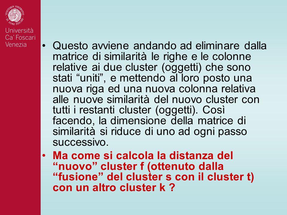 """Questo avviene andando ad eliminare dalla matrice di similarità le righe e le colonne relative ai due cluster (oggetti) che sono stati """"uniti"""", e mett"""
