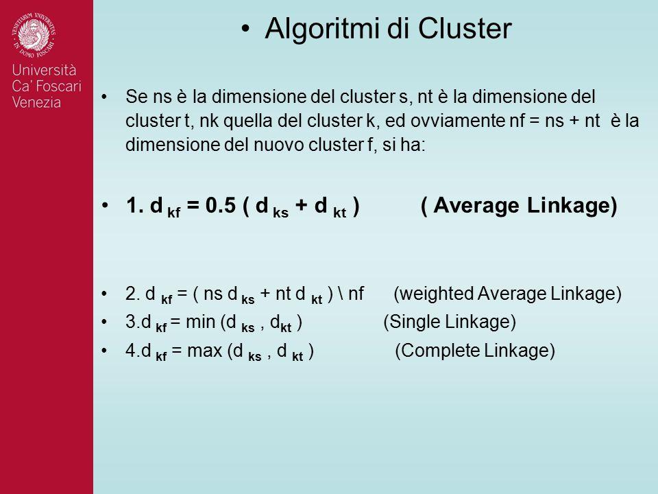 Algoritmi di Cluster Se ns è la dimensione del cluster s, nt è la dimensione del cluster t, nk quella del cluster k, ed ovviamente nf = ns + nt è la dimensione del nuovo cluster f, si ha: 1.
