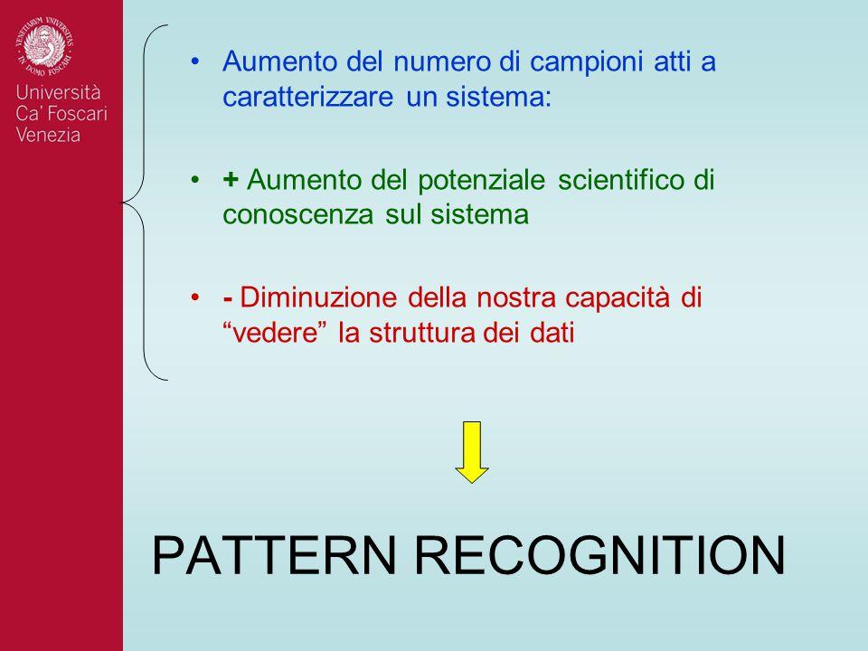 PATTERN RECOGNITION Aumento del numero di campioni atti a caratterizzare un sistema: + Aumento del potenziale scientifico di conoscenza sul sistema -