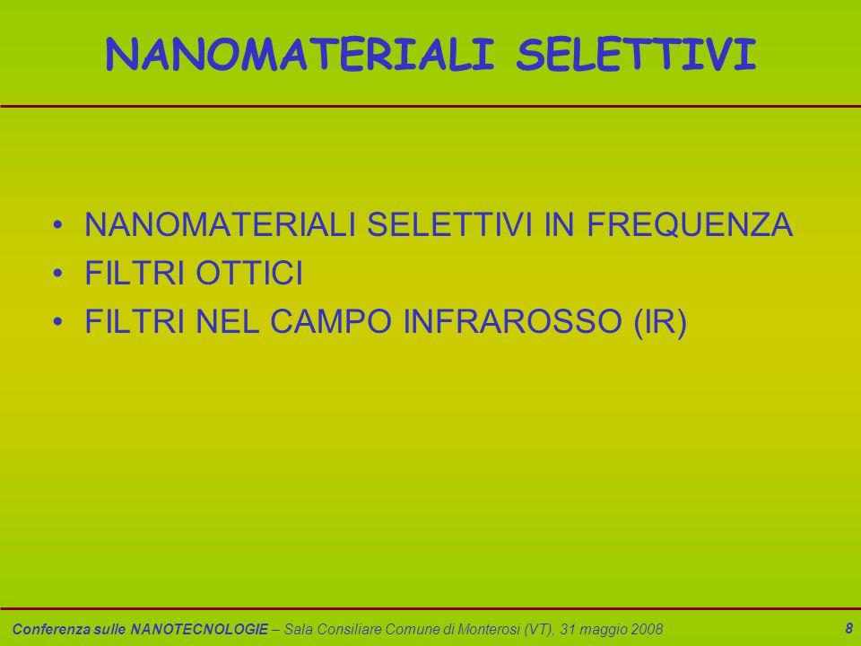 Conferenza sulle NANOTECNOLOGIE – Sala Consiliare Comune di Monterosi (VT), 31 maggio 2008 8 NANOMATERIALI SELETTIVI NANOMATERIALI SELETTIVI IN FREQUE