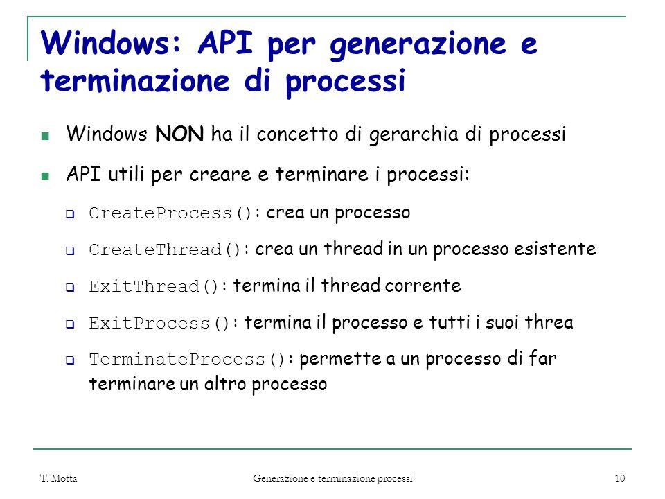 T. Motta Generazione e terminazione processi 10 Windows: API per generazione e terminazione di processi Windows NON ha il concetto di gerarchia di pro