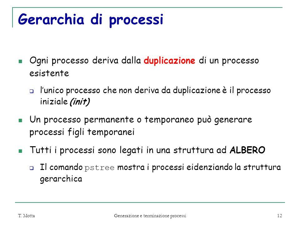 T. Motta Generazione e terminazione processi 12 Gerarchia di processi Ogni processo deriva dalla duplicazione di un processo esistente  l'unico proce