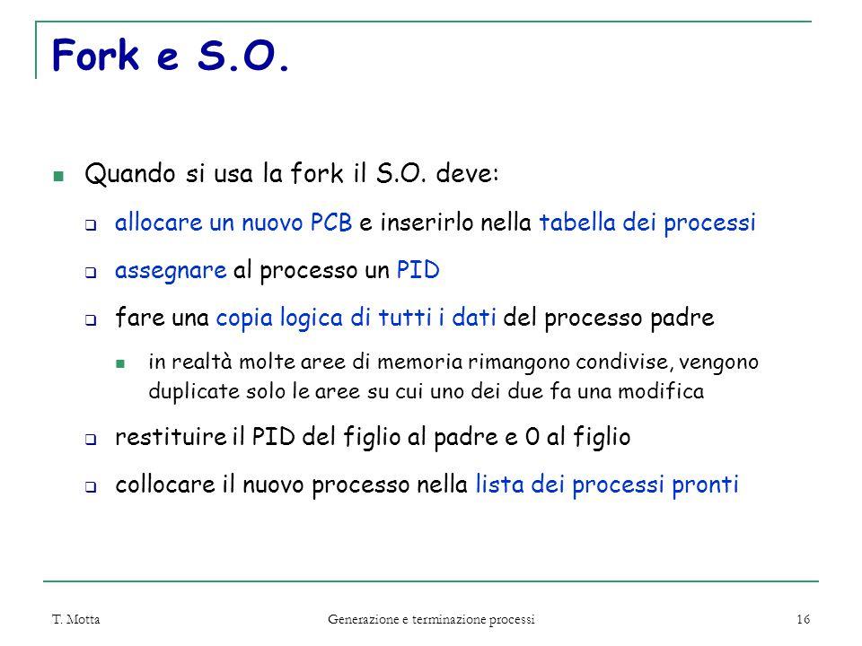 T. Motta Generazione e terminazione processi 16 Fork e S.O.